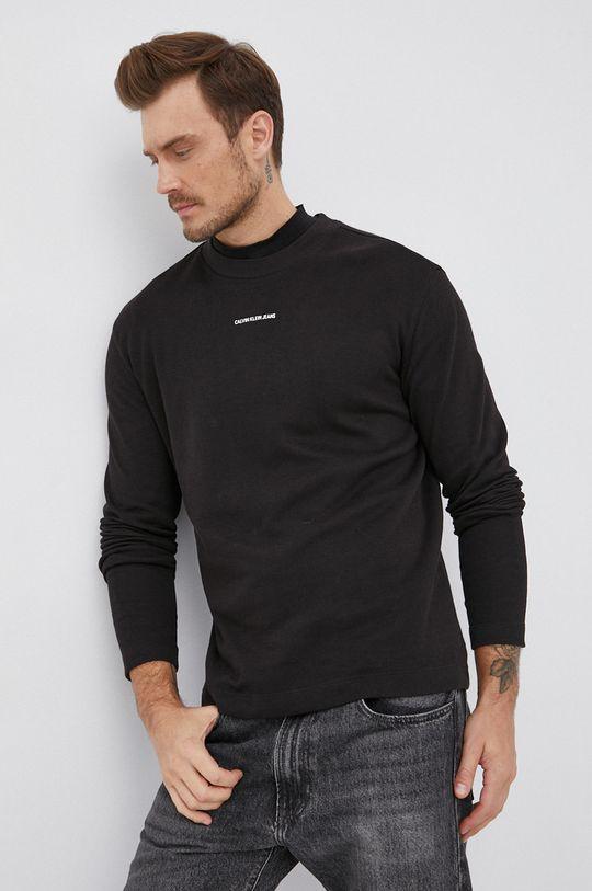 Calvin Klein Jeans - Bavlněné tričko s dlouhým rukávem černá