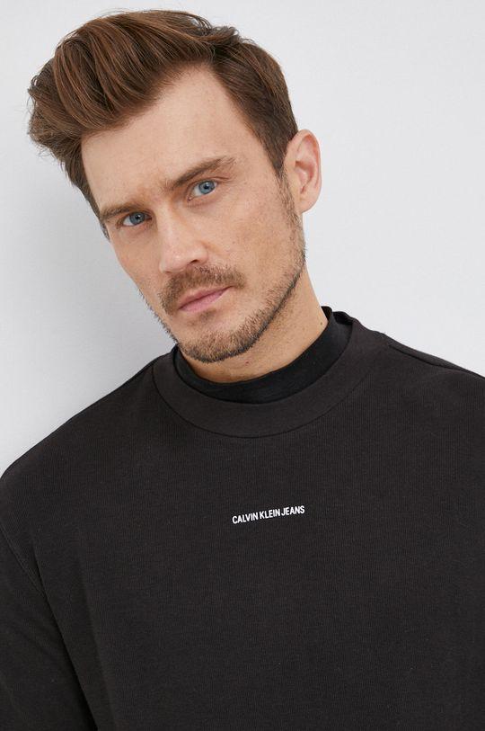 černá Calvin Klein Jeans - Bavlněné tričko s dlouhým rukávem