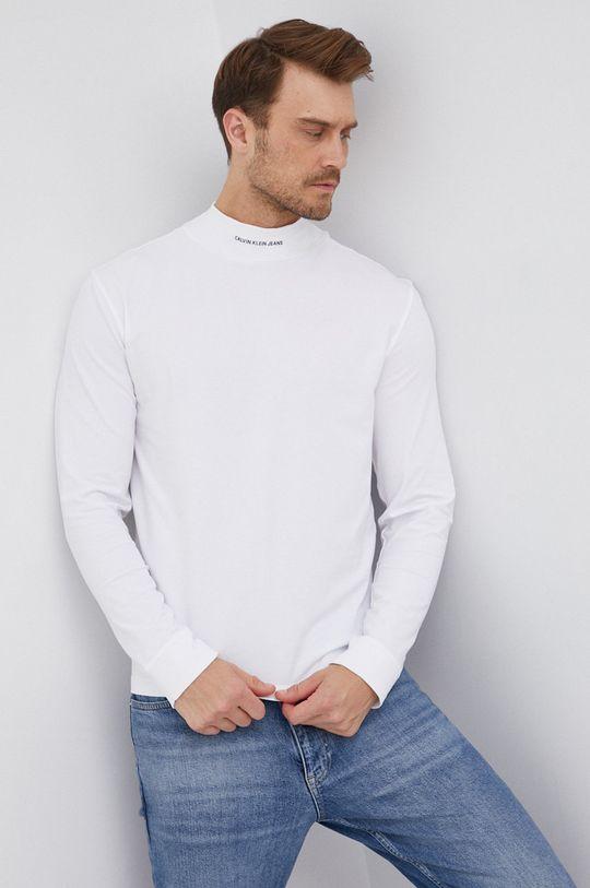 bílá Calvin Klein Jeans - Tričko s dlouhým rukávem Pánský
