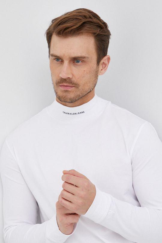 bílá Calvin Klein Jeans - Tričko s dlouhým rukávem