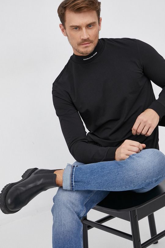 černá Calvin Klein Jeans - Tričko s dlouhým rukávem Pánský