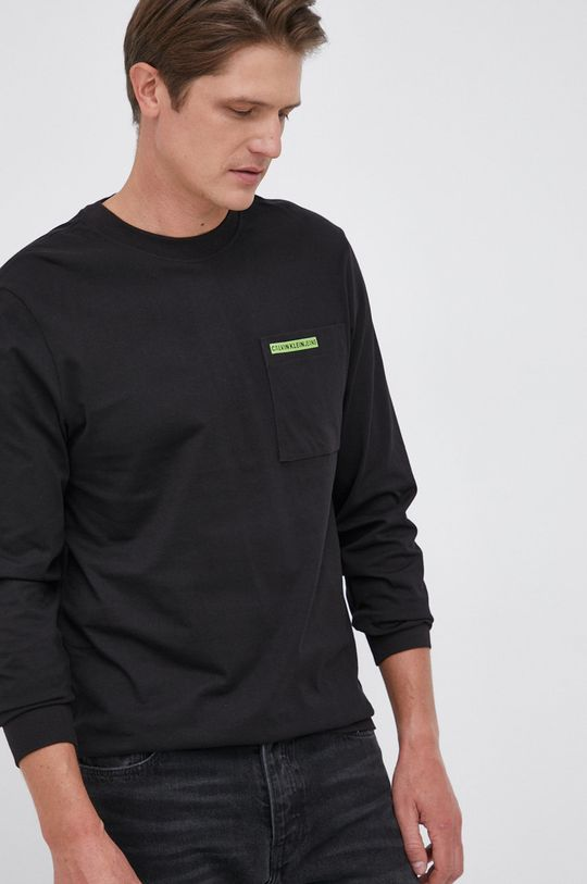 czarny Calvin Klein Jeans - Longsleeve bawełniany Męski