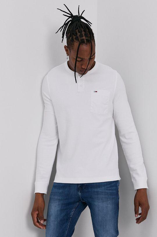 bílá Tommy Jeans - Tričko s dlouhým rukávem Pánský