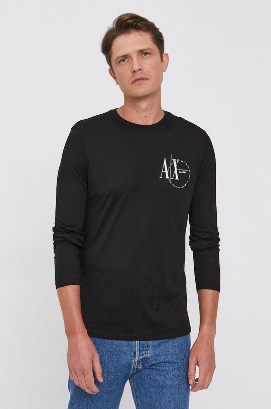 černá Armani Exchange - Tričko s dlouhým rukávem Pánský