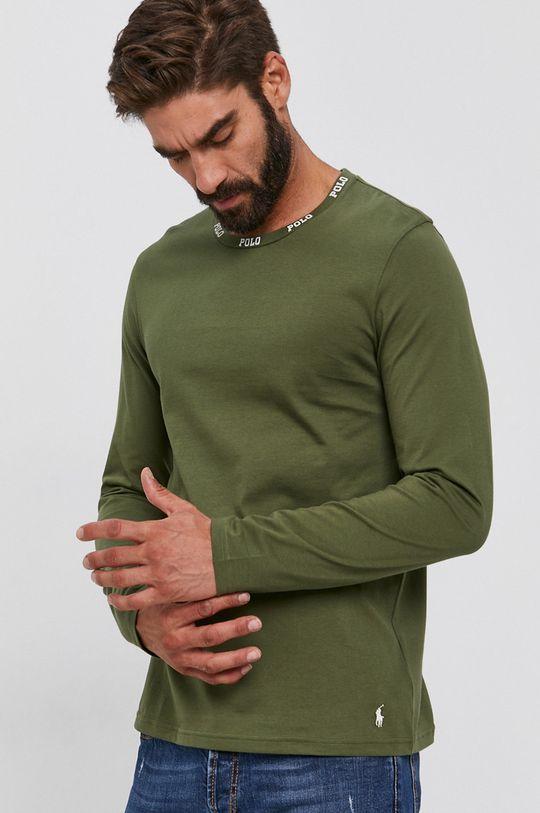 olivová Polo Ralph Lauren - Bavlnené tričko s dlhým rukávom Pánsky