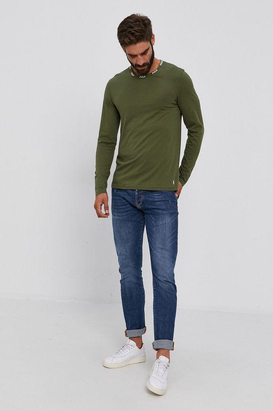 Polo Ralph Lauren - Bavlnené tričko s dlhým rukávom olivová