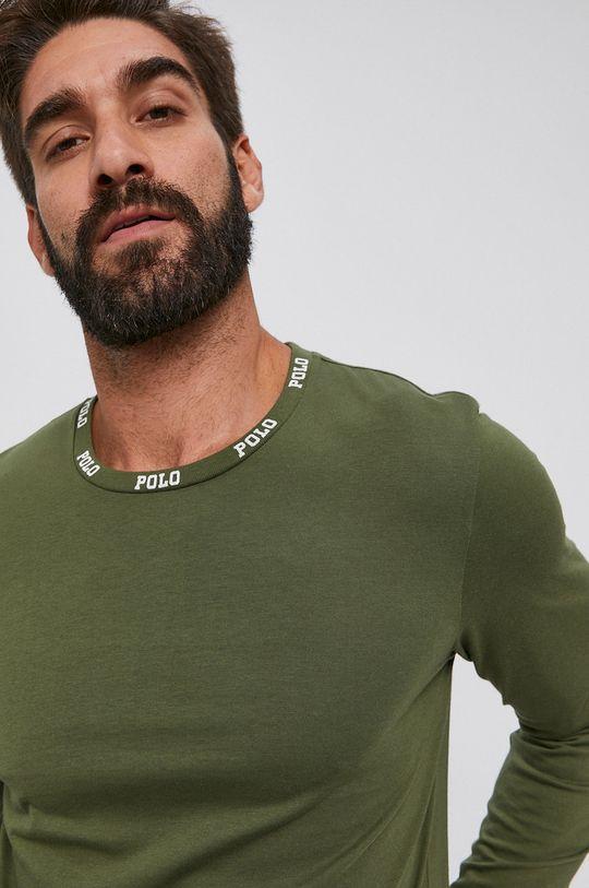 olivová Polo Ralph Lauren - Bavlnené tričko s dlhým rukávom