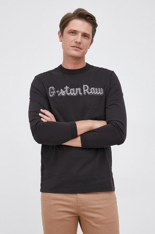czarny G-Star Raw - Longsleeve bawełniany Męski