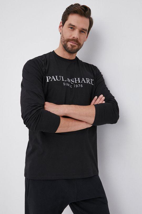 μαύρο PAUL&SHARK - Βαμβακερό πουκάμισο με μακριά μανίκια Ανδρικά