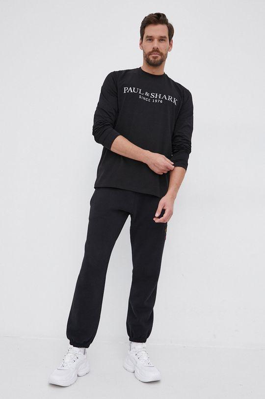 PAUL&SHARK - Βαμβακερό πουκάμισο με μακριά μανίκια μαύρο