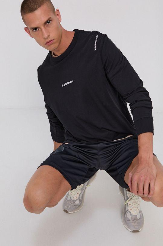 čierna Peak Performance - Bavlnené tričko s dlhým rukávom Pánsky