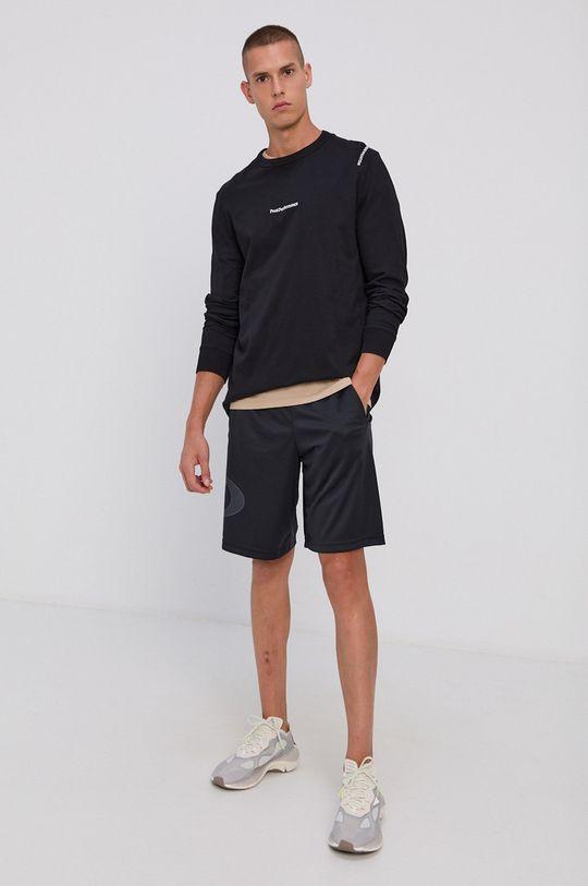 Peak Performance - Bavlnené tričko s dlhým rukávom čierna