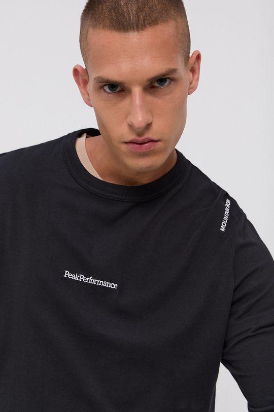 čierna Peak Performance - Bavlnené tričko s dlhým rukávom