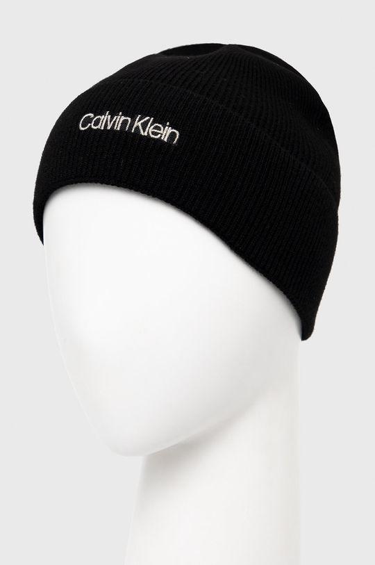Calvin Klein - Czapka z domieszką wełny czarny