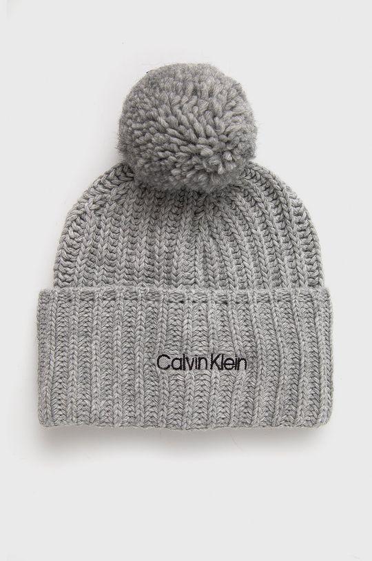 jasny szary Calvin Klein - Czapka z domieszką wełny Damski