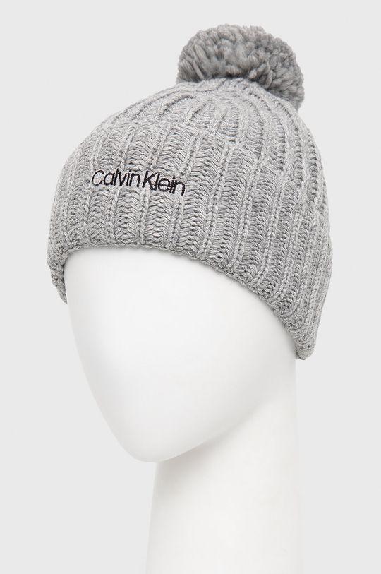 Calvin Klein - Czapka z domieszką wełny jasny szary
