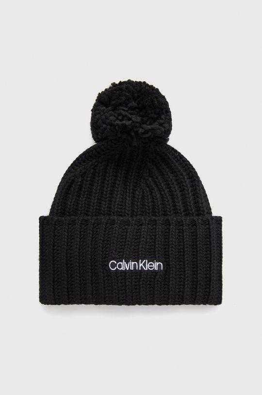 czarny Calvin Klein - Czapka z domieszką wełny Damski