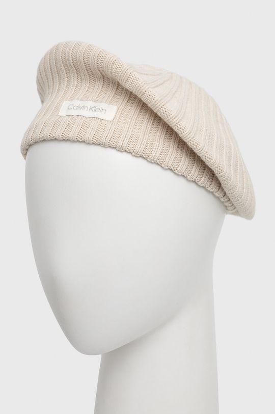 kremowy Calvin Klein - Beret z domieszką wełny Damski