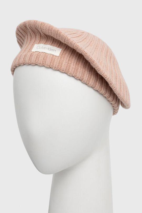pastelowy różowy Calvin Klein - Beret z domieszką wełny Damski