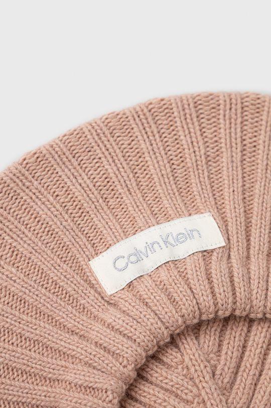 Calvin Klein - Beret z domieszką wełny pastelowy różowy