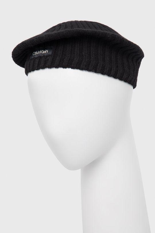 czarny Calvin Klein - Beret z domieszką wełny Damski