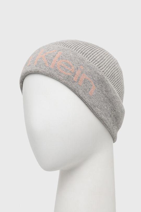 Calvin Klein - Čepice se směsí kašmíru šedá