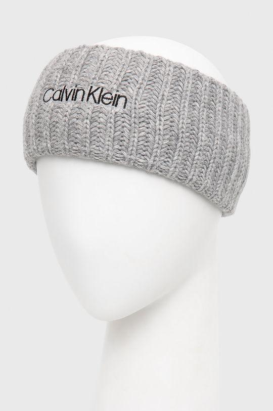 Calvin Klein - Opaska z domieszką wełny jasny szary
