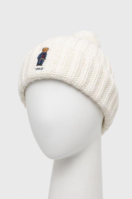 Polo Ralph Lauren - Čepice z vlněné směsi smetanová