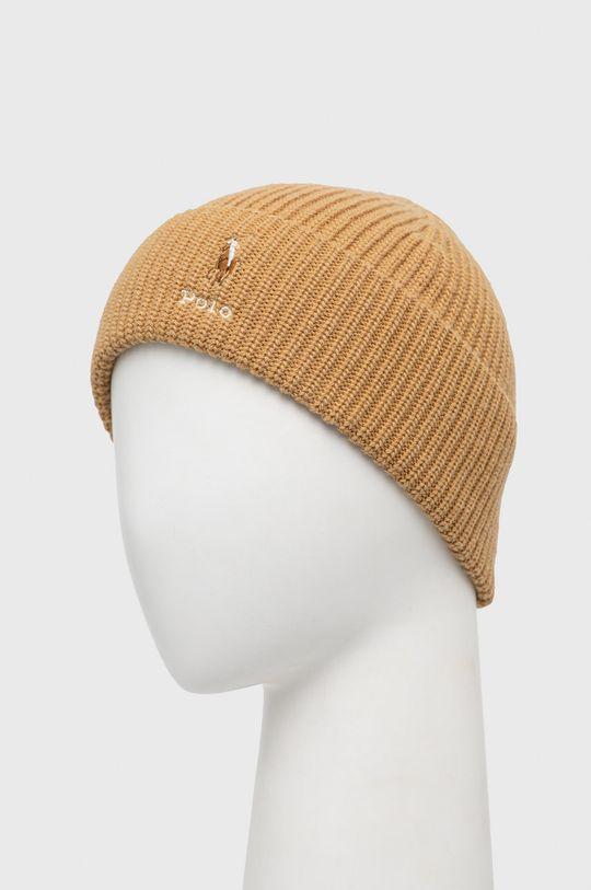 Polo Ralph Lauren - Čepice z vlněné směsi zlatohnědá