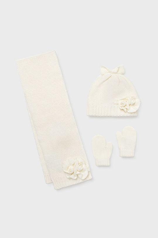 kremowy Mayoral - Czapka, szalik i rękawiczki dziecięce Dziewczęcy