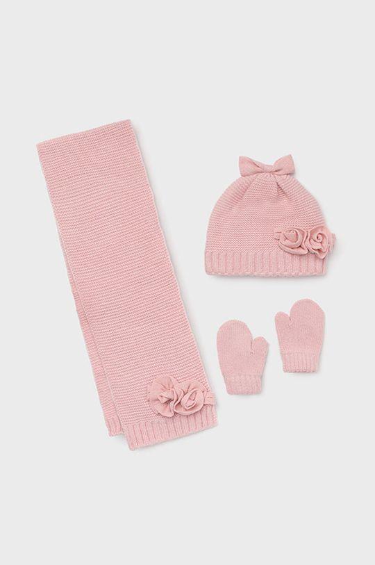 pastelowy różowy Mayoral - Czapka, szalik i rękawiczki dziecięce Dziewczęcy