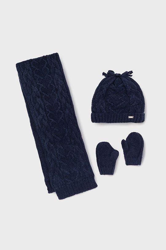 granatowy Mayoral - Czapka, szalik i rękawiczki dziecięce Dziewczęcy