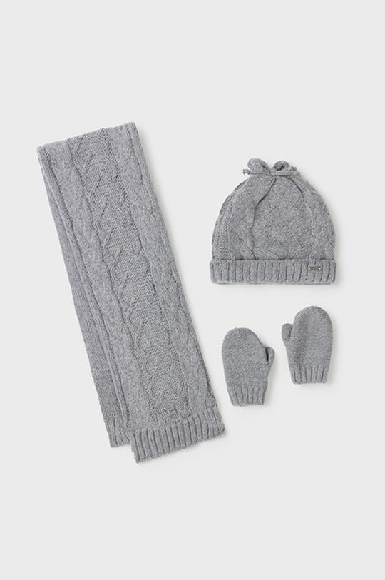szary Mayoral - Czapka, szalik i rękawiczki dziecięce Dziewczęcy