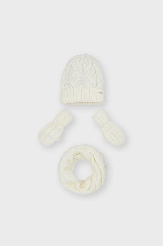 kremowy Mayoral - Czapka, szalik i rękawiczki Dziewczęcy