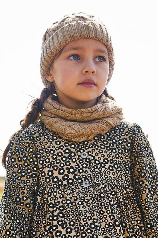 kawowy Mayoral - Czapka, szalik i rękawiczki Dziewczęcy