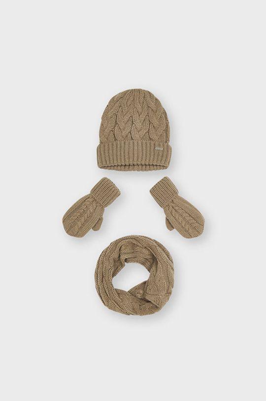 Mayoral - Czapka, szalik i rękawiczki kawowy