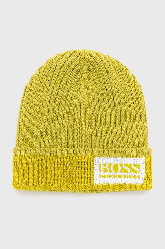 żółto - zielony Boss - Czapka Męski