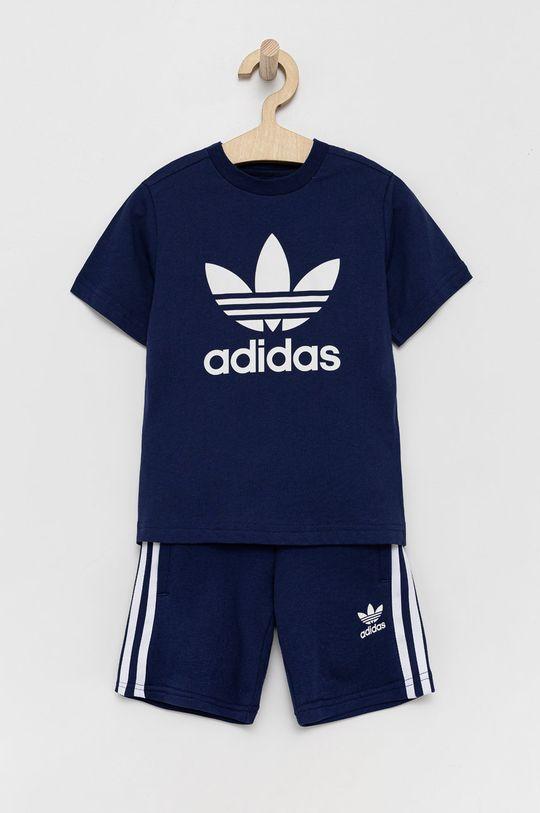 námořnická modř adidas Originals - Dětská tepláková souprava Chlapecký