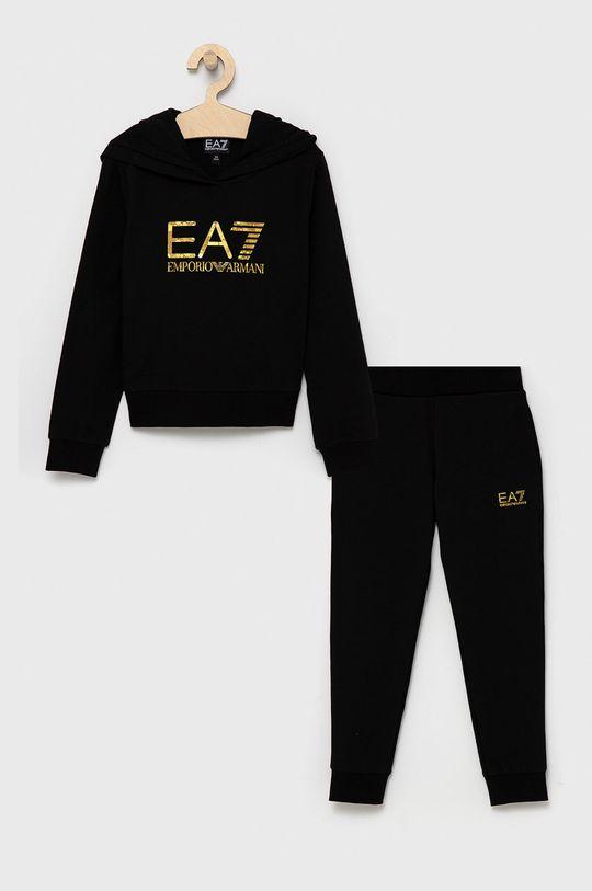 czarny EA7 Emporio Armani - Dres dziecięcy Dziewczęcy