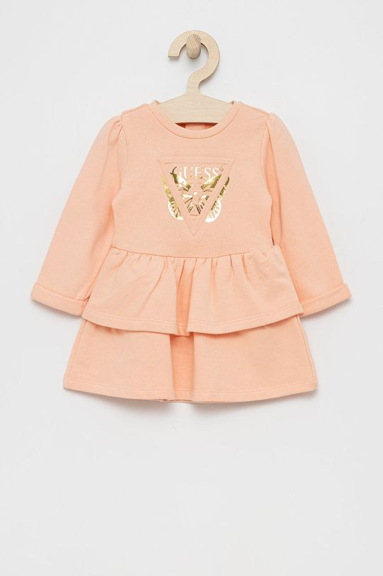 Guess - Sukienka dziecięca brzoskwiniowy