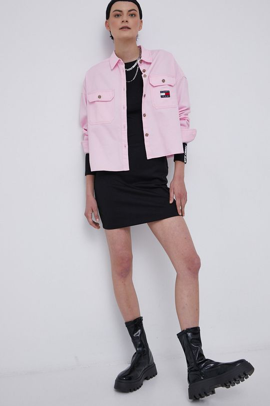 Tommy Jeans - Koszula bawełniana różowy