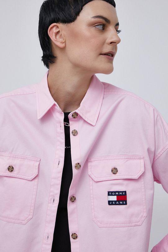 różowy Tommy Jeans - Koszula bawełniana