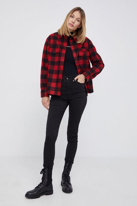 WOOLRICH - Koszula wełniana ostry czerwony