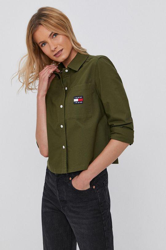 oliwkowy Tommy Jeans - Koszula bawełniana Damski