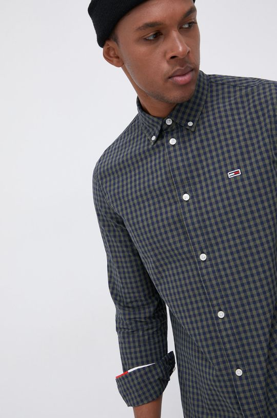 oliwkowy Tommy Jeans - Koszula bawełniana Męski