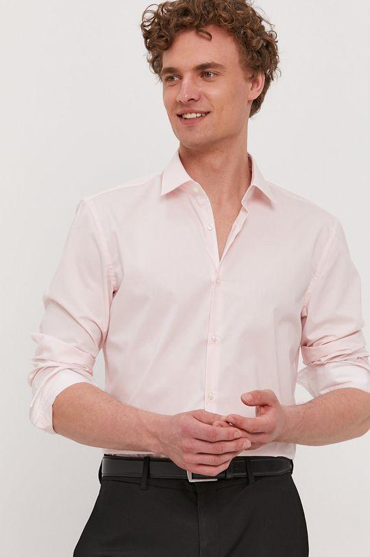 pastelowy różowy Hugo - Koszula bawełniana Męski