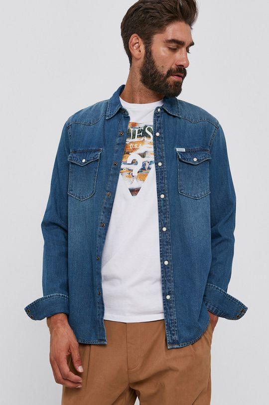 niebieski Guess - Koszula bawełniana jeansowa Męski