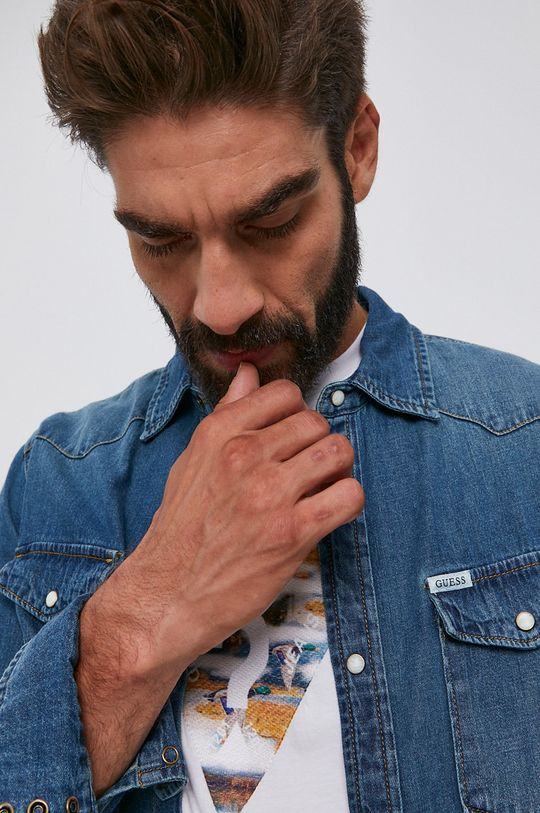 Guess - Koszula bawełniana jeansowa Męski