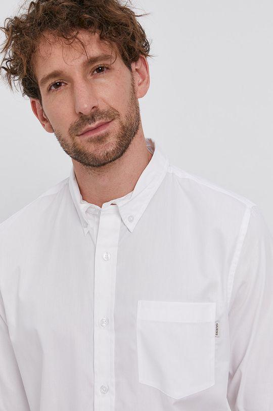 biały Guess - Koszula bawełniana Męski