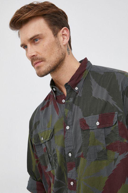 zelená Desigual - Bavlněná košile Pánský